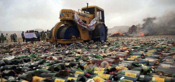 Уничтожение изъятого алкоголя
