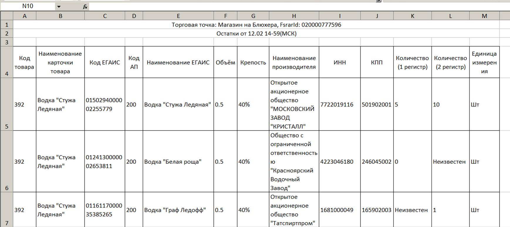 Exel-таблица с остатками