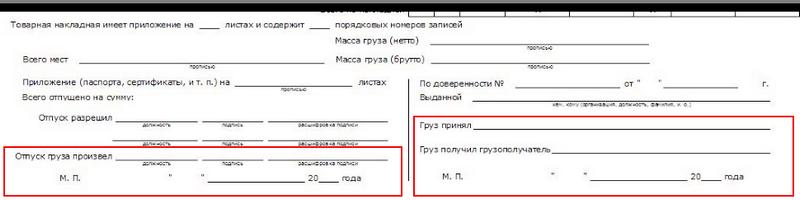 Даты приема и отправки в ТОРГ-12